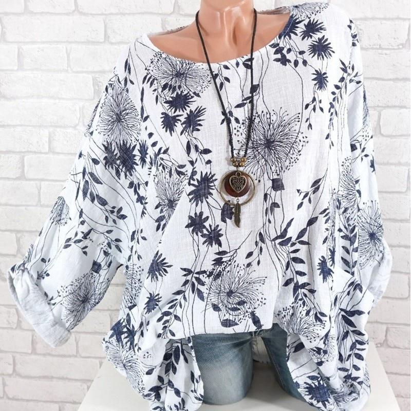 2019 Floral Print Für Frauen Oansatz Sommer Casual Mode Top T Shirt Langarm Femme T-shirt Weiß Grau Blau Weibliche T Shirt
