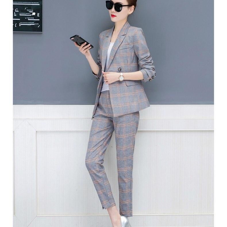 2018 Di Autunno Nuove Donne Del Plaid 2 Pezzi Set Di Moda Irregolare Giacca Pantalone Dritto Vestito Con Pantaloni Di Lavoro Ufficio Abiti