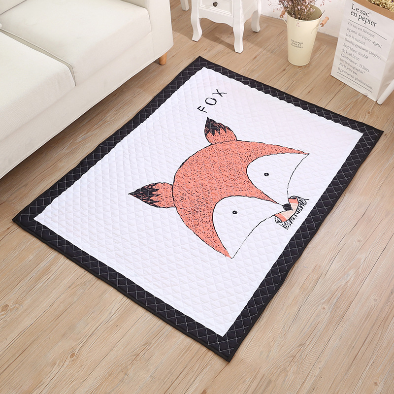Cute Fox Cotton Baby Play Mats Multi-function Blanket Picnic Mat Nordic Style Kids Room Home Decor Photo Props
