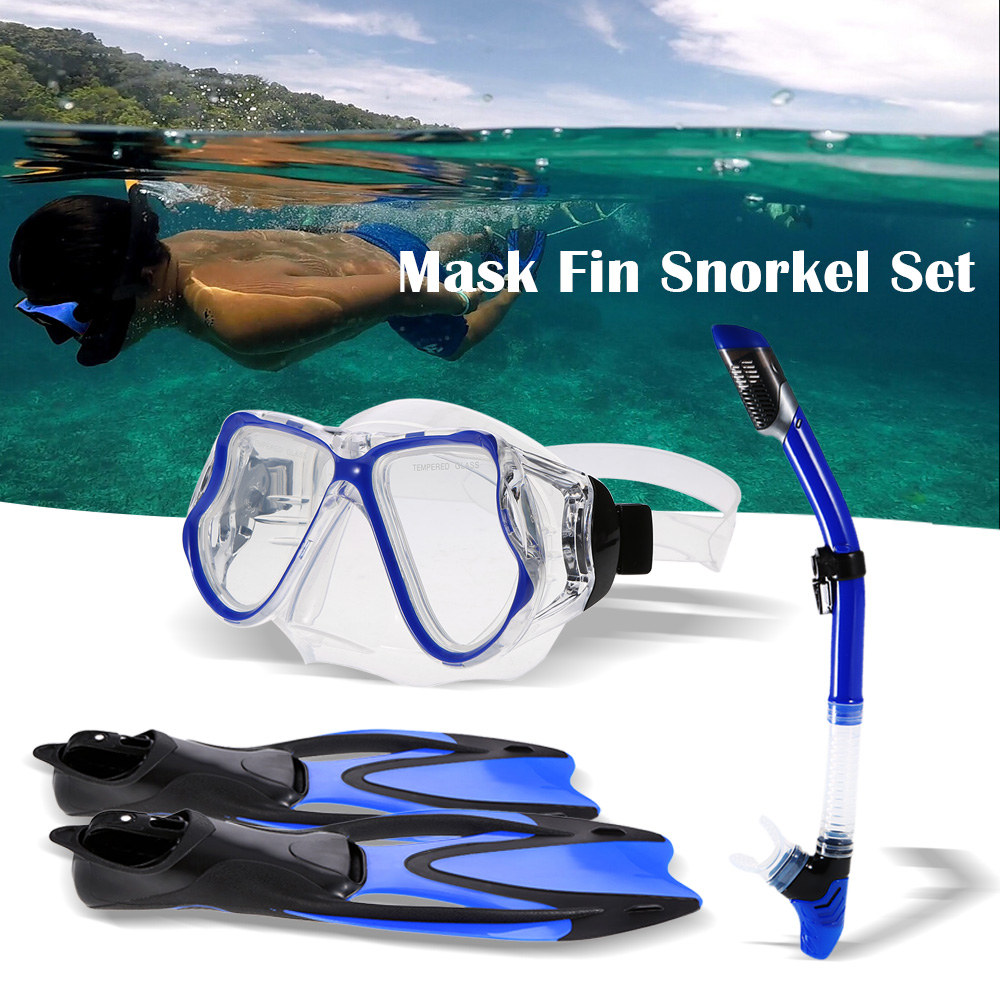 2019 Men Women Diving Mask Swimming Fins Dry Snorkel Tube Set Professional Snorkeling Mask Diving Goggles