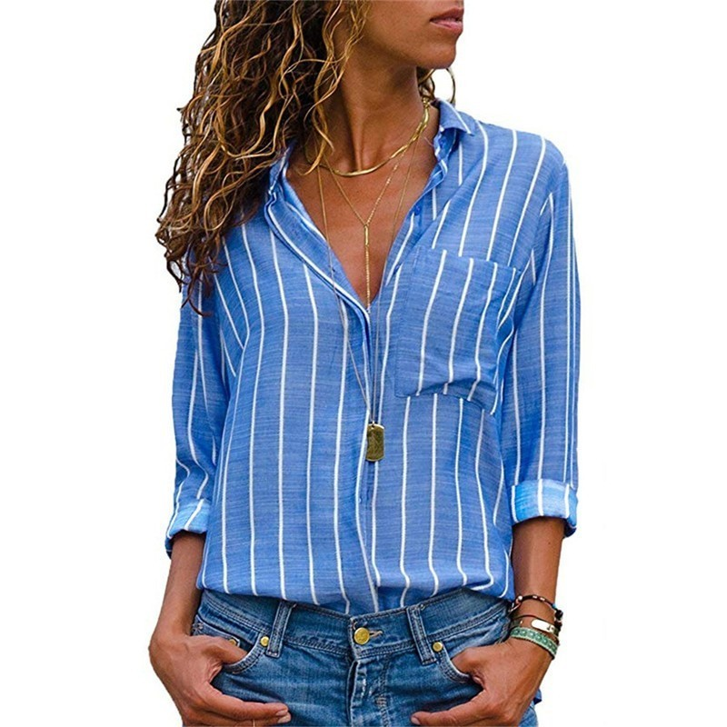 Classic Striped Chiffon Shirt Shirts Ladies Plus Measurement Pocket Buttons Lengthy Sleeve Girls High Blusas Femininas 2019 Boho Clothes Blouses & Shirts, Low-cost Blouses & Shirts, Classic Striped Chiffon...