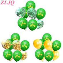 ZLJQ Shamrock Grün Konfetti Luftballons Leprechaun Dekoration Glück Irish Grün Saint patricks Tag Bedruckte Ballons Party Decor 7(China)