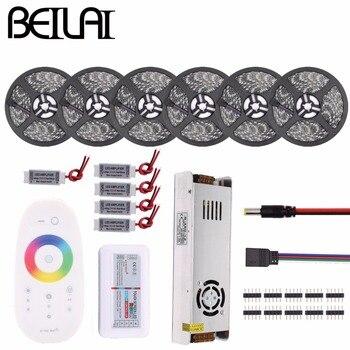 RGB LED Şerit Su Geçirmez 5050 5 M 10 M 15 M 20 M 30 M DC 12 V RGBWW RGBW led ışık Esnek Şeritler eklemek Denetleyici güç amplifikatörü