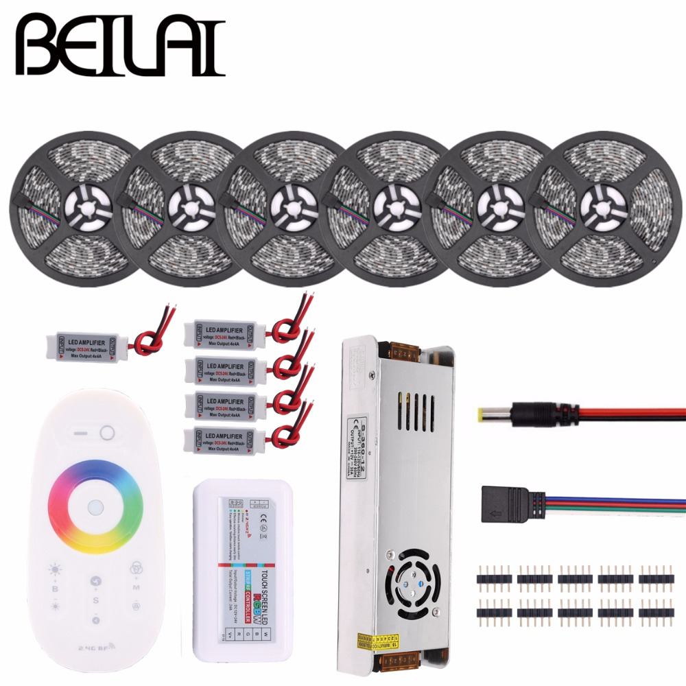 RGB LED Strip Waterproof 5050 5M 10M 15M 20M 30M DC 12V RGBWW RGBW LED Light Flexible Strips Add Controller Power Amplifier