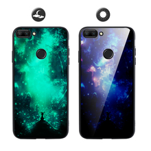 For Xiaomi Mi 8 MI 8 Lite Case Glass Back Silicon Soft TPU Frame Luxury Luminous Cover For Xiaomi Mi8 Lite Case Glow in the Dark glow in the dark protective tpu pc back case for iphone 5 green transparent