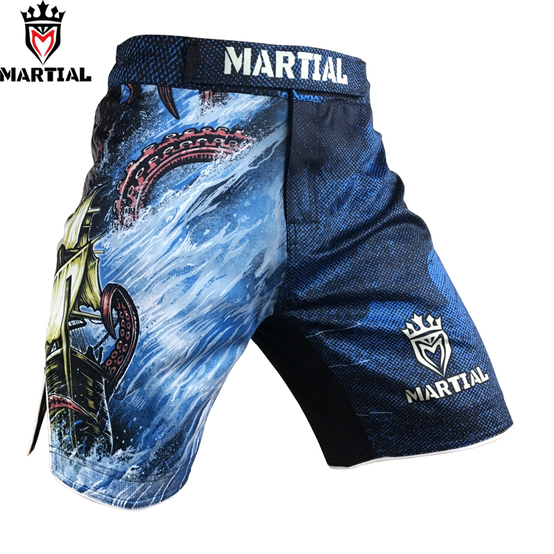Martial: A EXPLORAÇÃO sublimação calções muay thai calções de boxe kickbox curto mma trecho de quatro vias troncos