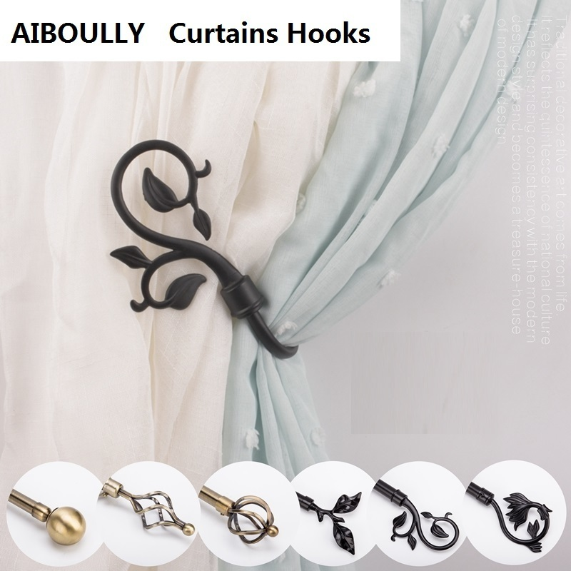 Permalink to 2 Pcs/Set Curtain Holder Living Room Curtain Holdback Curtains Decoration Accessories Tieback Leaves Curtain Hooks