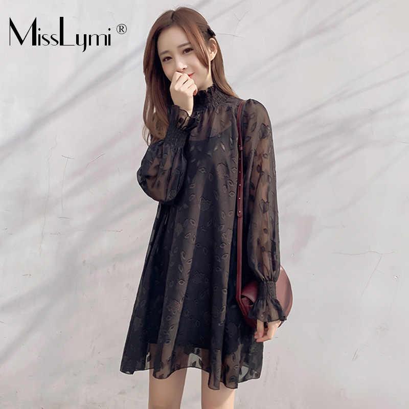 3016da743f8 L-5XL Grand grande taille Femmes Noir robes en mousseline de soie 2019  Printemps Coréenne