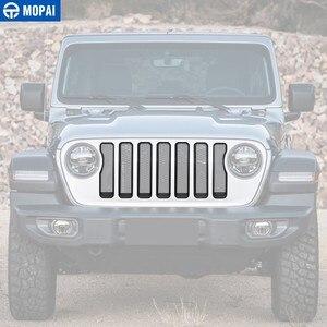 Image 3 - MOPAI Auto Anteriore Griglie Decorazione Della Copertura Sticker per Jeep Wrangler Sahara 2018 + Accessori Auto per Jeep Gladiatore JT 2018 +