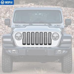 Image 3 - Mopai frente do carro grades decoração capa etiqueta para jeep wrangler sahara 2018 + acessórios do carro para jeep gladiador jt 2018 +