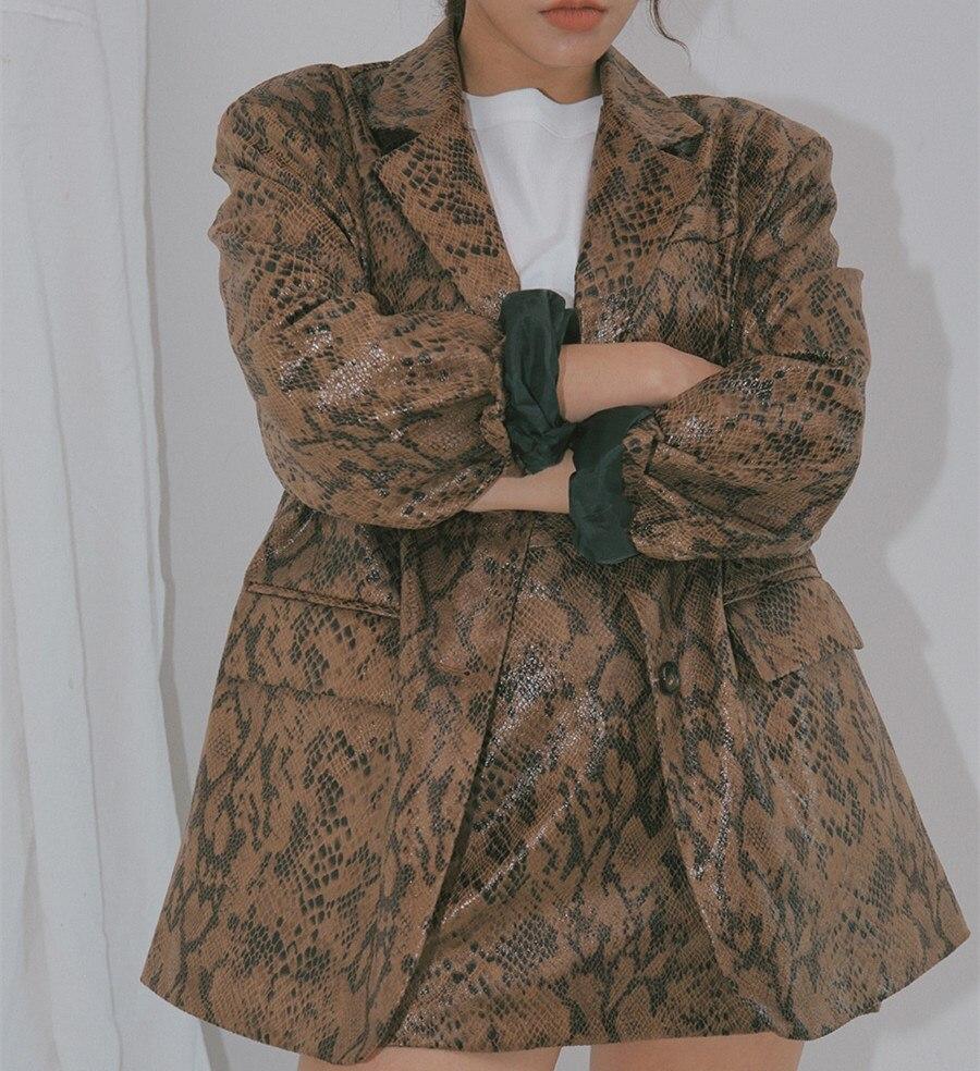 2018 Nieuwe Vrouwen Suits Snake Print Tweedelige Set Koreaanse Stijl Lange Blazers Jassen En Mini Rok Past