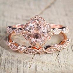 Новый 2 шт./компл. Кристалл обручение кольцо ювелирные изделия из розового золота цвет очаровательные кольца для женщин подарок девочек