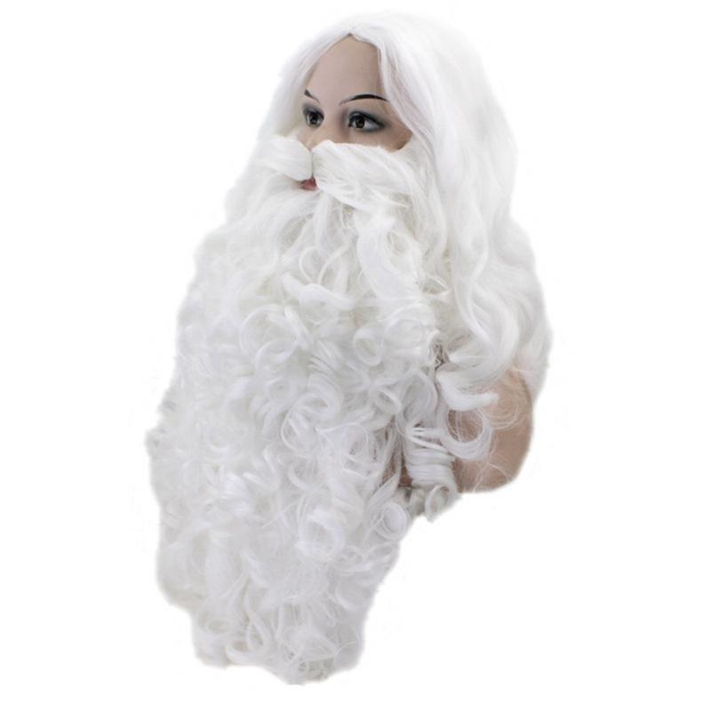 Car Christmas Ornaments Santa Claus Wig Fake Beard Set Long White Old Man Fake Mustache Christmas Wig Headgear Dress Up