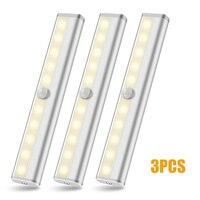 3pcs Indoor Stairway Hallway Light 10 LED Motion Sensor Night Light Wireless Battery Power Closet Lamp