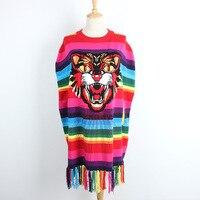 Brand Design 2018 Runway Tiger Head Patchwork Sequined Women Sweater Pullovers Overseize Cloak Tassel Rainbow Striped Jumper