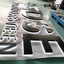 Fabricated Stainless steel backlit letter acrylic back sides halo-lit storefront signs outdoor lighted business signs