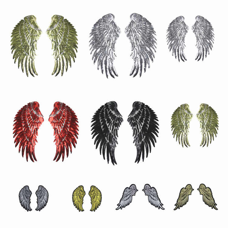PGY 12 Design Sequin Patch DIY Angel Wings Iron On Patches For Kids Clothes Sew-On Embroidered Patch Motif Applique Stickers