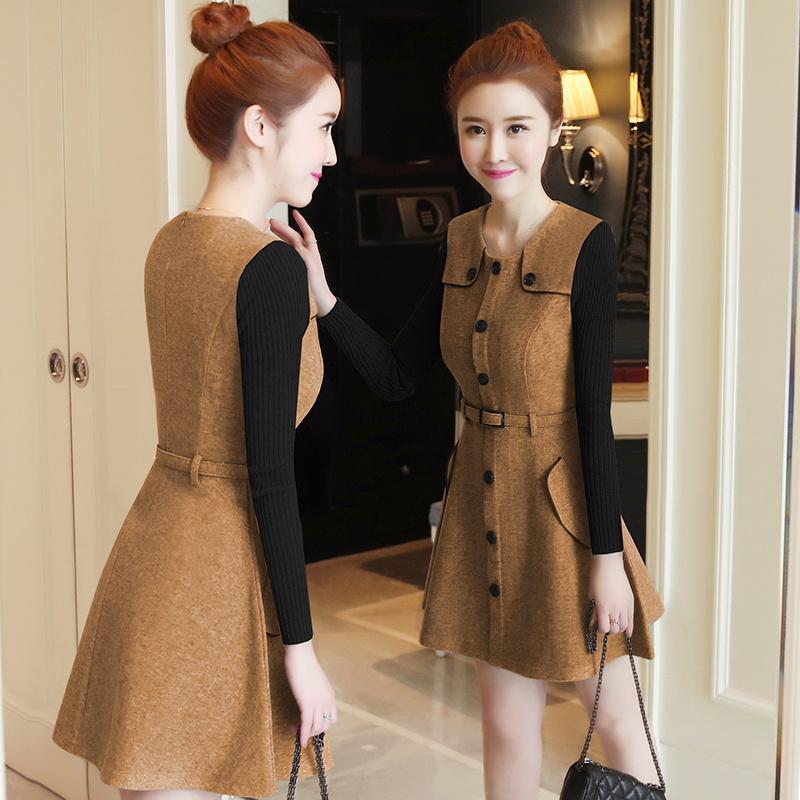 winter new round collar single-breasted cloth dress belt buttons A word women dresses Korean fashion outfit lady vogue vestido 2