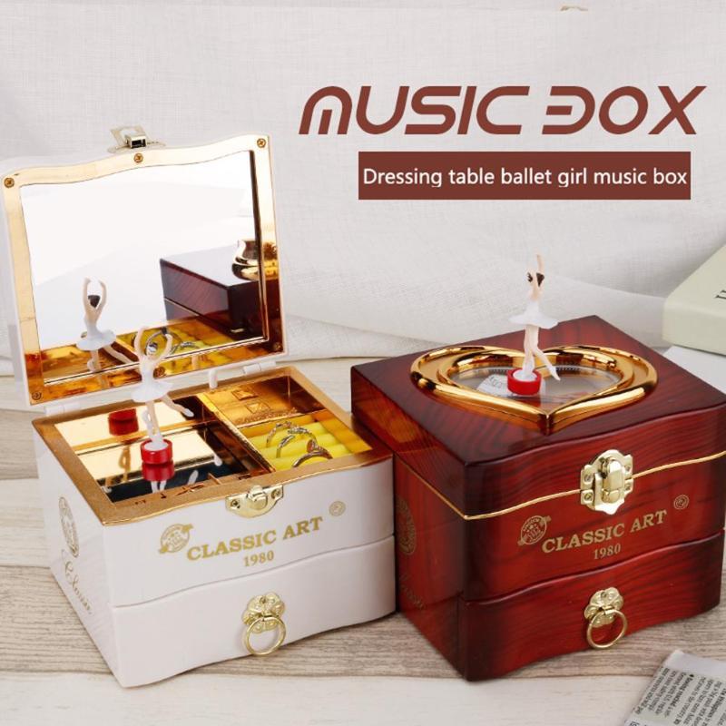 Caixa de Música de Piano clássico Girando Dançarino Da Bailarina Meninas Carrossel caixa de Música Manivela Mecanismo de Relógio Caixa De Jóias De Plástico Dom