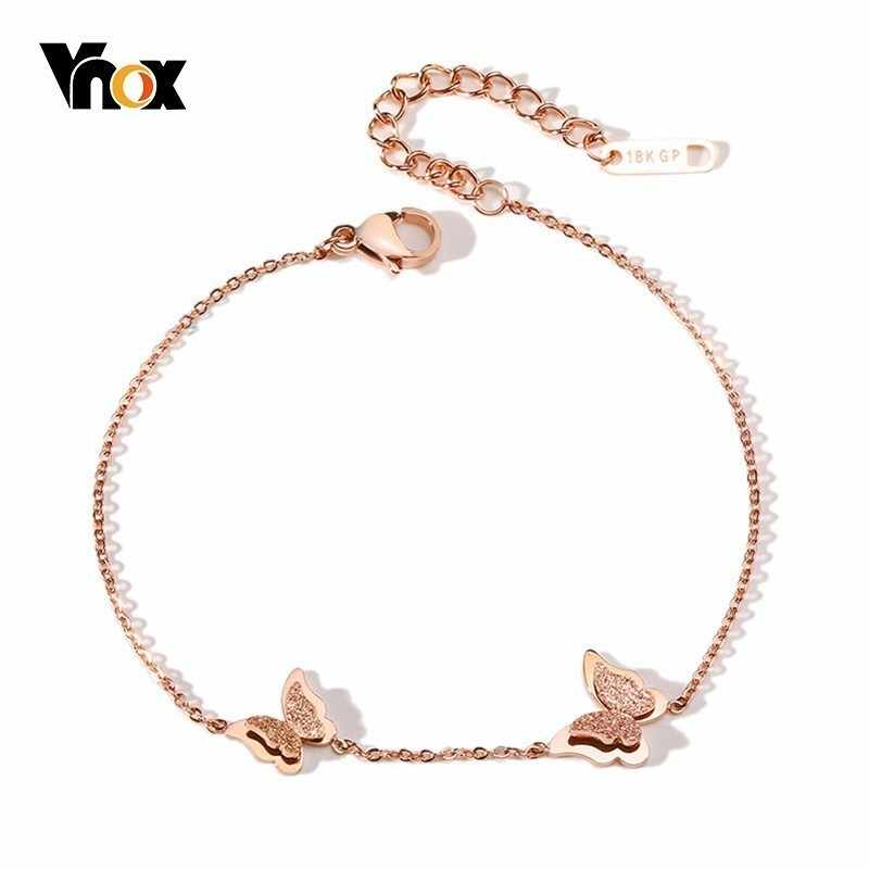 Vnox Cute Vivid Butterfly Charm Anklet for Women Bright 585 Rose Gold Color Stainless Steel Female Jewlery Adjustable Length