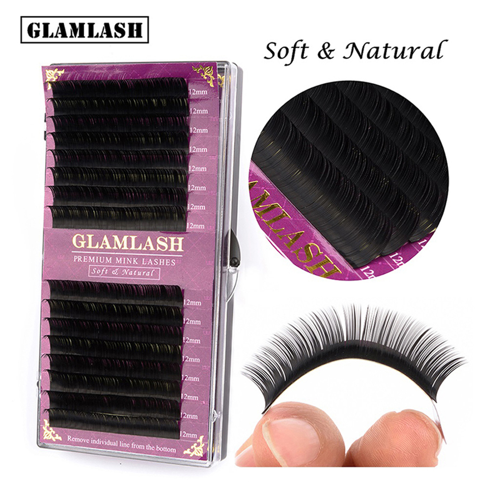 GLAMLASH 16Rows BCD Crul Individual False Handmade Eyelash Extension Supplies Natural Faux Mink Salon Perfect Professional Use