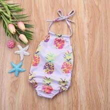 Cute Toddler Kids Baby Girl Swimsuit Sling Pineapple Swimwear Bikini Bathing One-Piece Suit Beachwear Outfits Summer Clothing