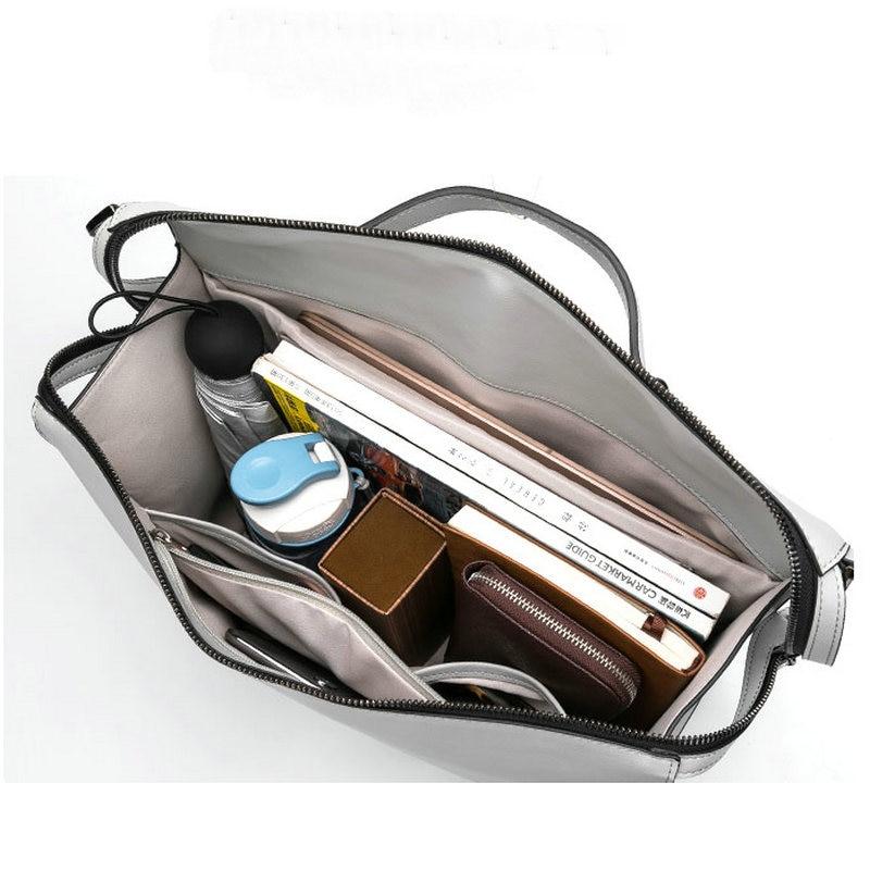 YINUO PU bolso de cuero de alta capacidad bolso de hombro para 14 pulgadas portátil bolso maletín impermeable desmontable bolso de verano - 5