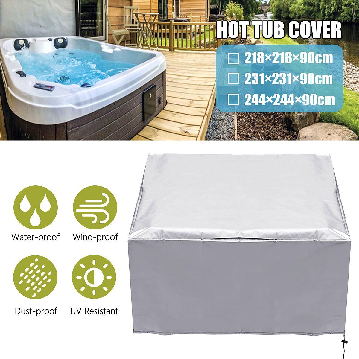 Couverture de bain à remous capuchon Anti-uv résistant à la poussière résistant à la chaleur bain Spa housse sac bain à remous temps couvre ombre baignoire couverture de poussière