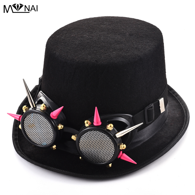 d07734151a3d6 Black Fedora Steampunk Victorian Top Hat With Pink Spike Goggle For Women  Men Steam Punk Glasses