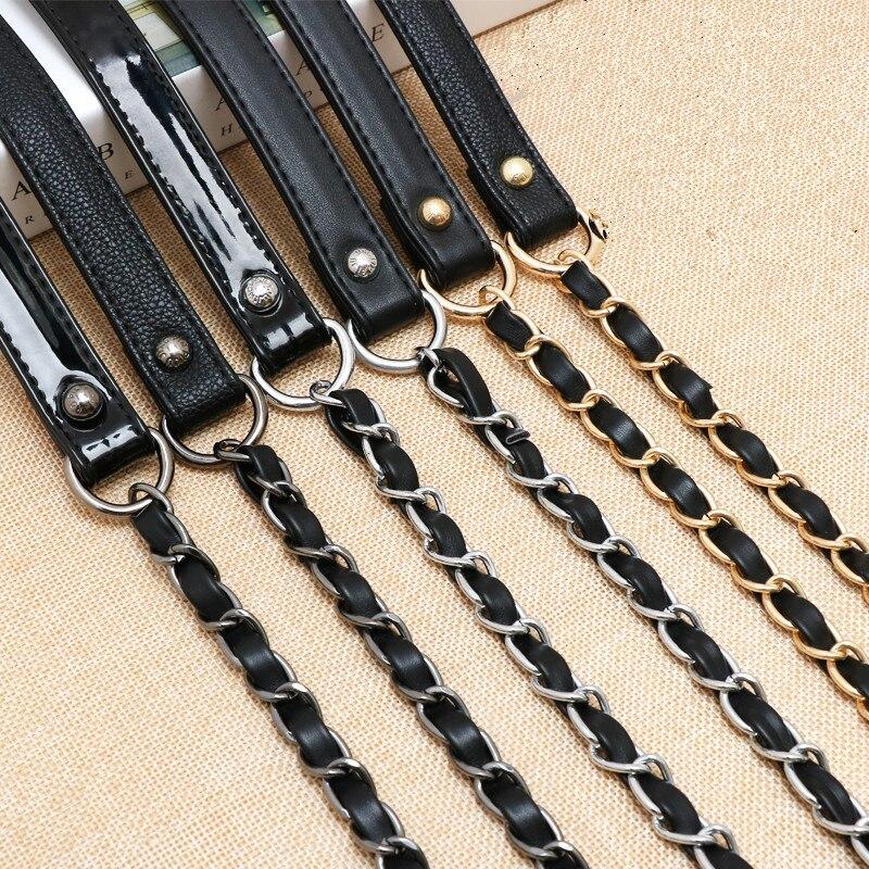 Blcak Lady Bag Strap Metal Chain Stringing Leather Belt Diy Crossbody Bag Shoulder Bags Accessories 120cm Length Obag Handle