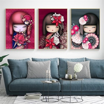 HUACAN Diamond Painting Full Square Japan Dolls Diamond Embroidery Needlework Painting Cartoon Picture Of Rhinestone