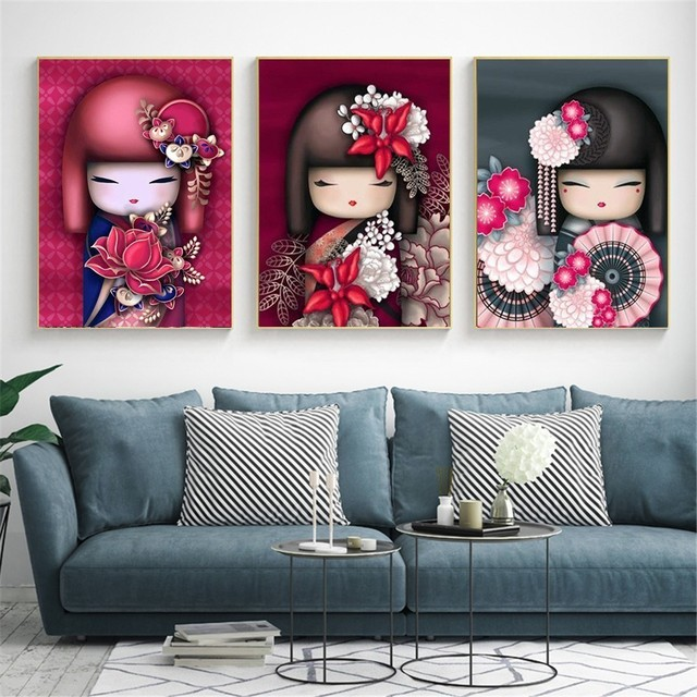 HUACAN Diamond Painting Full Square Japan Dolls Diamond Embroidery Needlework Painting Cartoon Picture Of Rhinestone Mosaic