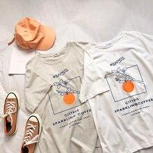 Kawaii Orange In Branch Women T Shirt Short Sleeve White Gra