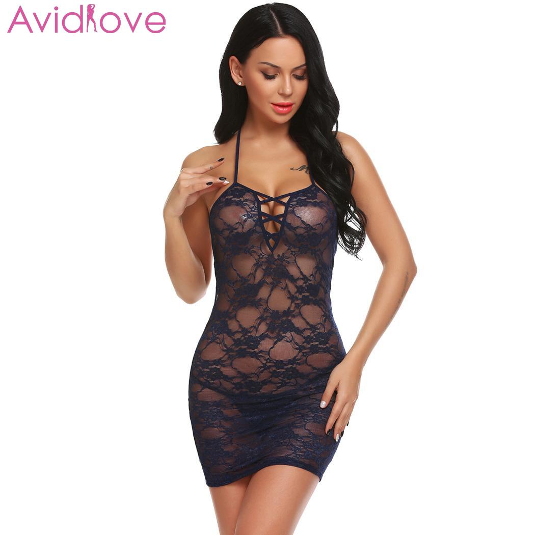 <font><b>Avidlove</b></font> Women <font><b>Sexy</b></font> <font><b>Lingerie</b></font> <font><b>Lace</b></font> <font><b>Floral</b></font> <font><b>Hot</b></font> <font><b>Erotic</b></font> Babydoll V-Neck Sleepwear Dress Transparent Hollow-out Chemise Underwear image