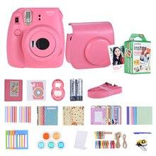 Fujifilm Instax Mini 9 aparat natychmiastowy Film Selfie lustro różowy + 14 w 1 aparat natychmiastowy zestaw + 20 * Instax Mini biała folia papier fotograficzny