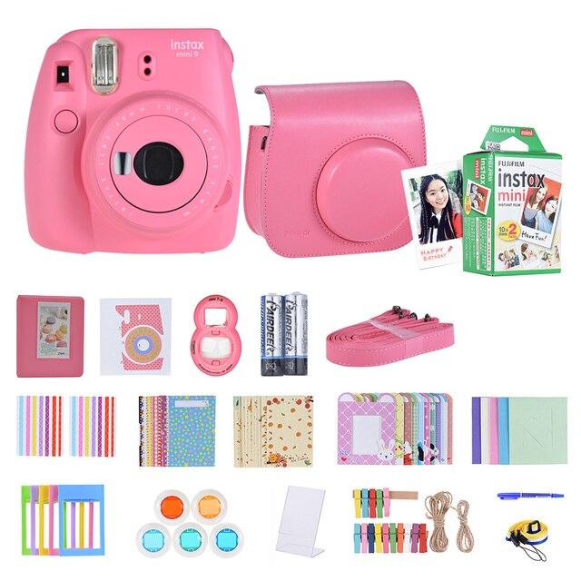 فوجي فيلم Instax Mini 9 كاميرا فورية فيلم Selfie مرآة الوردي 14 في 1 مجموعة كاميرا فورية 20 * Instax فيلم أبيض صغير ورق طباعة الصور