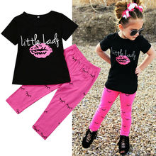 USA 1-6Year Kid Clothes Baby Girl Clothes Outfits T-shirt Letter Lip Tops +Printed Long Pants Clothes Girls Clothes Sets kid outfits round neck letter pattern tops in grey