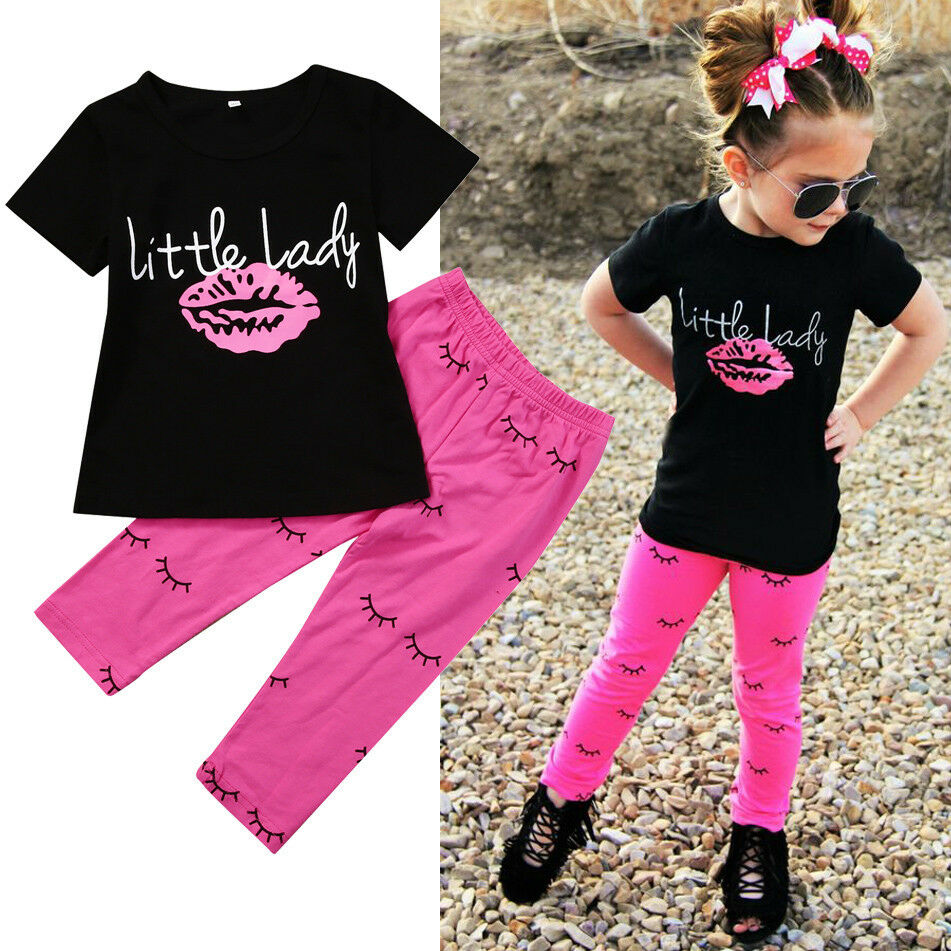USA 1-6Year Kid Clothes Baby Girls Outfits T-shirt Letter Lip Tops +Printed Long Pants Clothes Girls Clothes Sets
