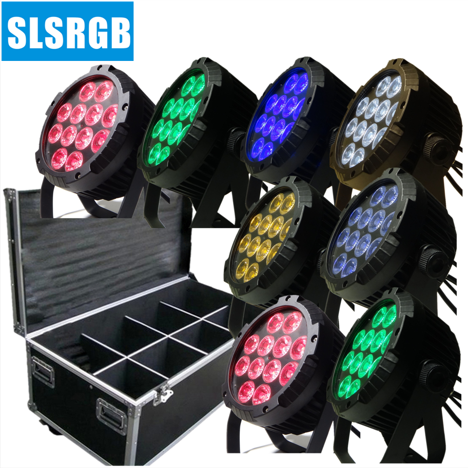 8pcs/lot with flight case NEW led 12x18 RGBWA+UV 6IN1 LED FLAT SLIM PAR STAGE LIGHT/LED PAR 64 CAN LIGHT|led par 64|par 64|led flat - title=