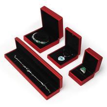 Fashion LED Lighted Necklace Earring Ring Pendant Bangle Bracelet Storage Box Wedding Engagement Jewelry Display Holder Cases