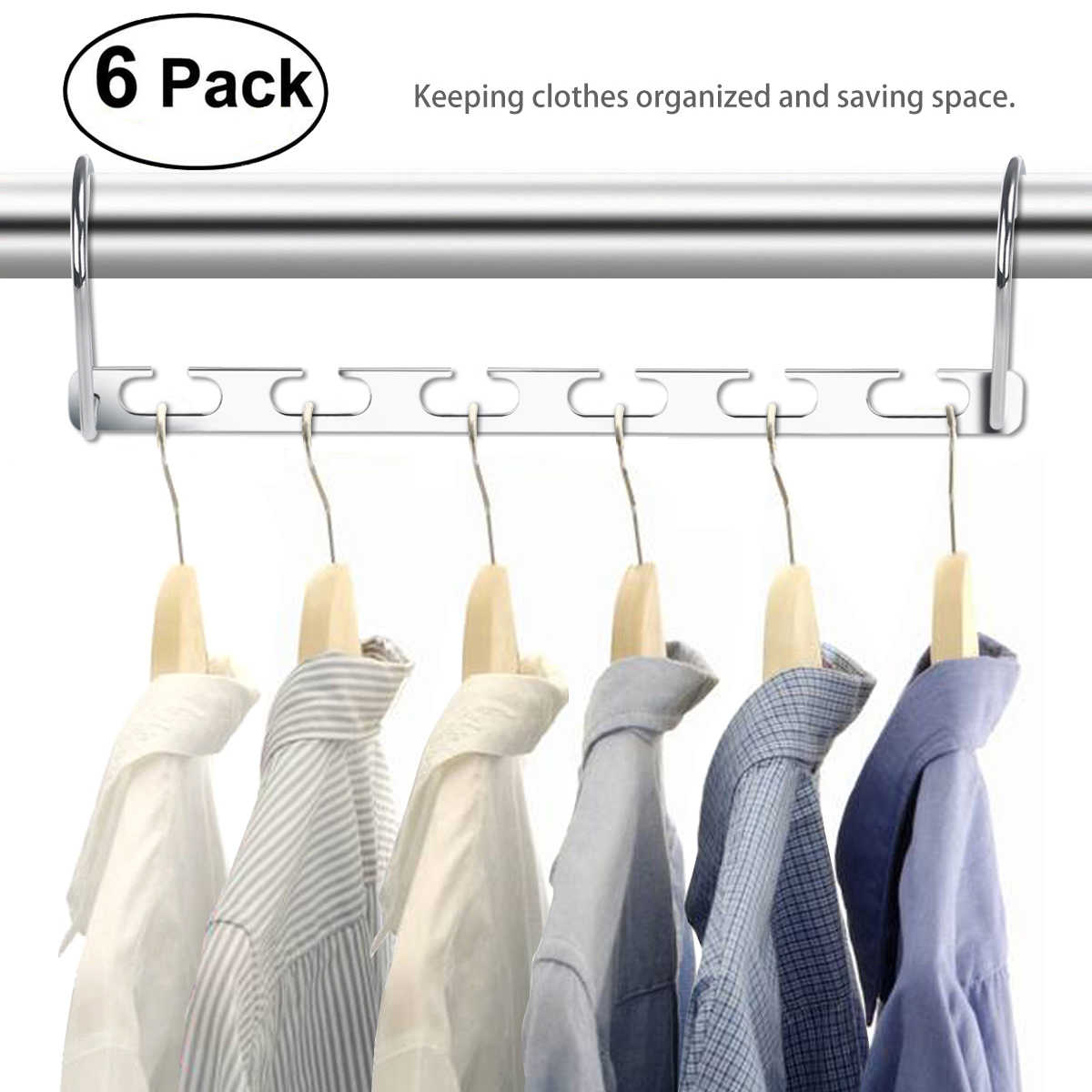 Detail Feedback Questions About 6pcs Stainless Steel Wardrobe Closet Bar Clothes Coat Hanger Adjule Pinch Grip Clothing Organizer Save E Whole