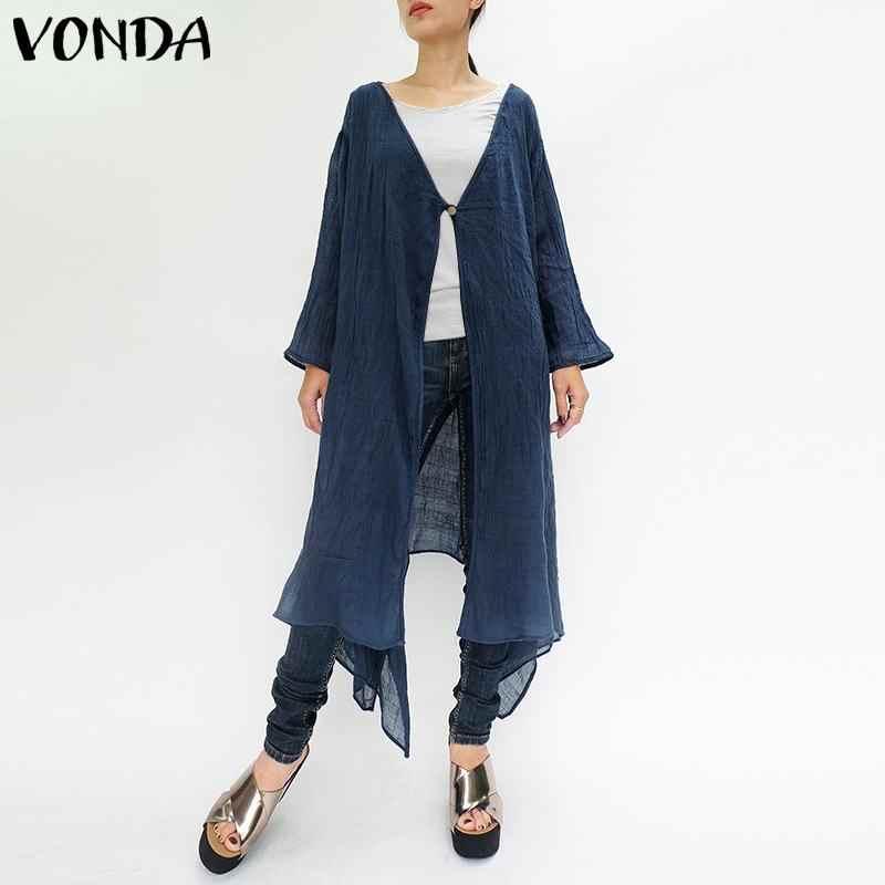 VONDA женская блузка рубашка 2019 Летняя Повседневная Свободная кардиганы с длинными рукавами рубашки топы сексуальная Длинная пляжная одежда Blusas плюс размер 5XL