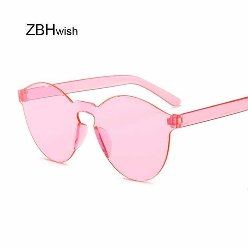 Fashion Baru Tanpa Bingkai Vintage Bulat Cermin Kacamata Hitam Wanita Mewah Merek Desain Asli Matahari Kacamata Perempuan Oculos Feminino
