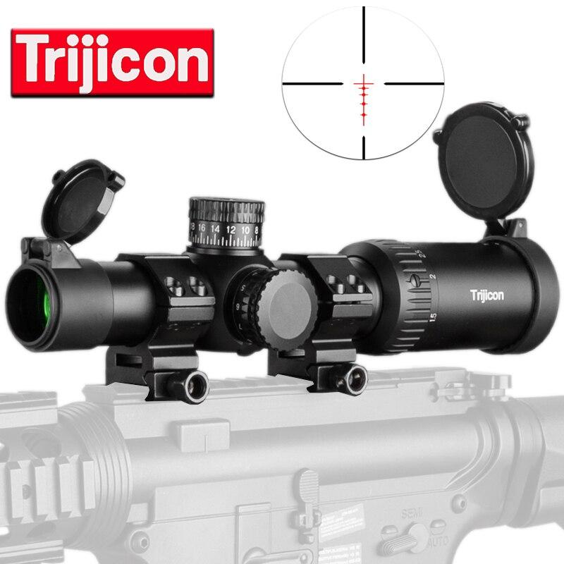 Trijicon 1-4X24 réticule lunette de visée tactique avec tourelles cibles lunette de chasse pour fusil de Sniper nouveauté