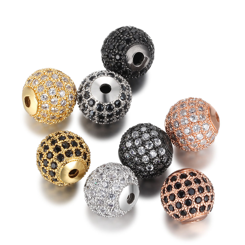 8/10mm round Bead bracelets Accessories for Diy natural stone Bracelet Jewelry Making Brass cubic Zirconia Ball Beads Wholesale(China)