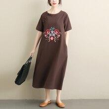 Spring Summer Women Elegant Floral Embroidery Dresses Short Sleeve O-Neck Loose Dress Vintage Cotton Linen Party Vestido цена