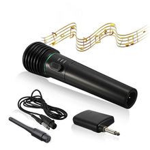Wireless Handheld Microphone 2 in 1 Wired & Receiver Unidirectional Black