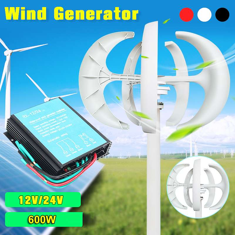DC 12V/24V 600W Lantern Wind Tu rbine Residential Home Wind Tu rbines Generator Permanent Magnet Generator + 600W Controller boss tu 10 sv