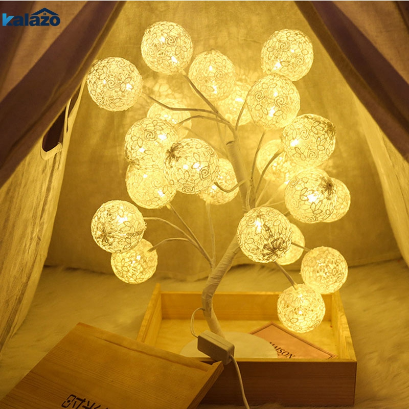 Led Tree Light Cotton Ball Tree Light Indoor Light Shape Night Light Girl Heart Room Decoration Bar Decoration