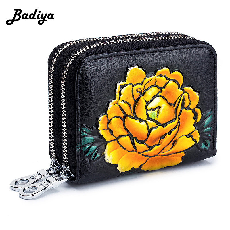 New Fashion Double Zipper Short Women Wallet Accordion Multi Slots Lady Card Holder Rose Painting Pattern Female Coin Purse Gift